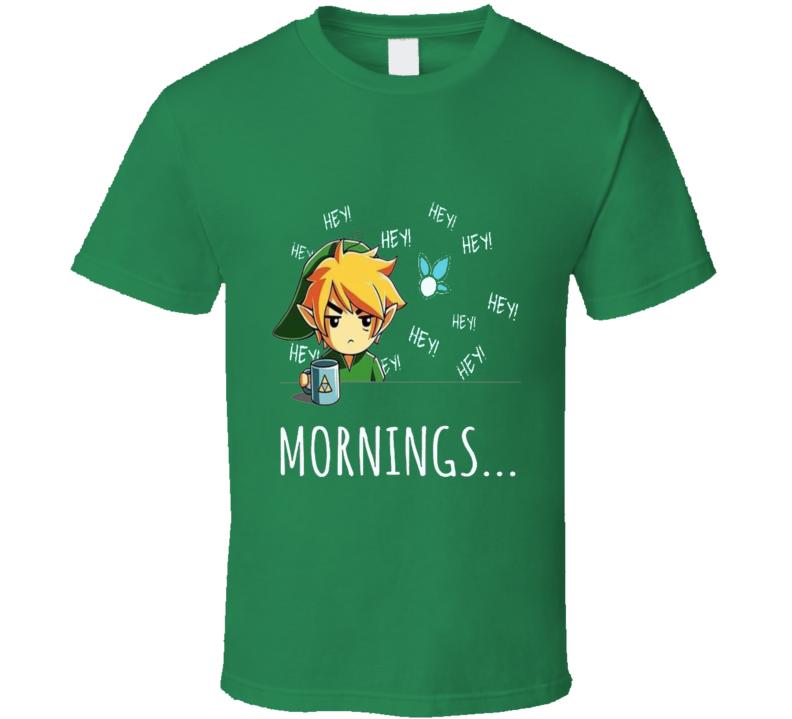 The Legend Of Zelda Link Hates Mornings Triforce Hyrule Navi Video Game  T Shirt