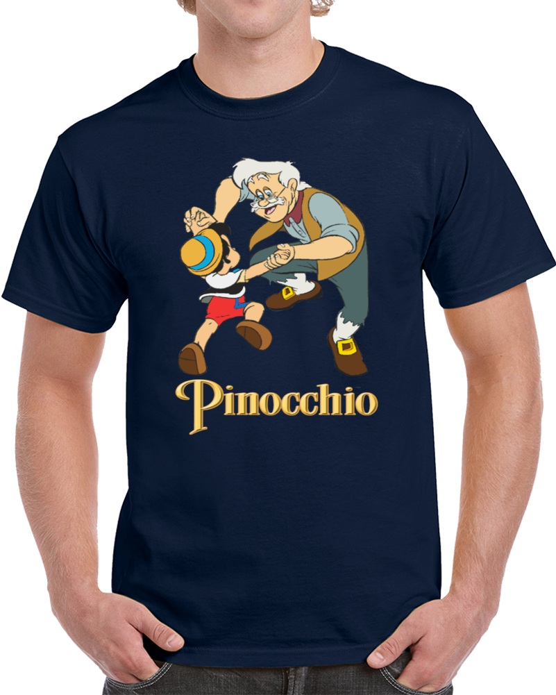 Pinocchio And Grand Dad Geppetto  T Shirt