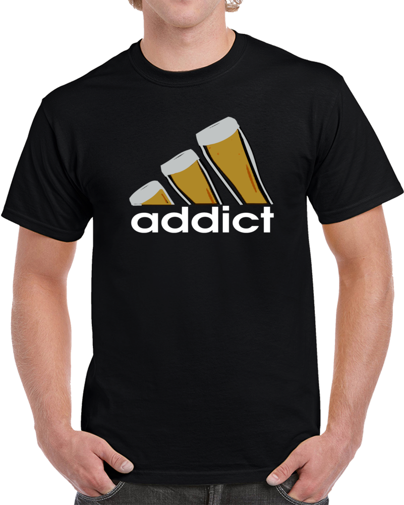 Addict Beer Drinks adidas logo T Shirt