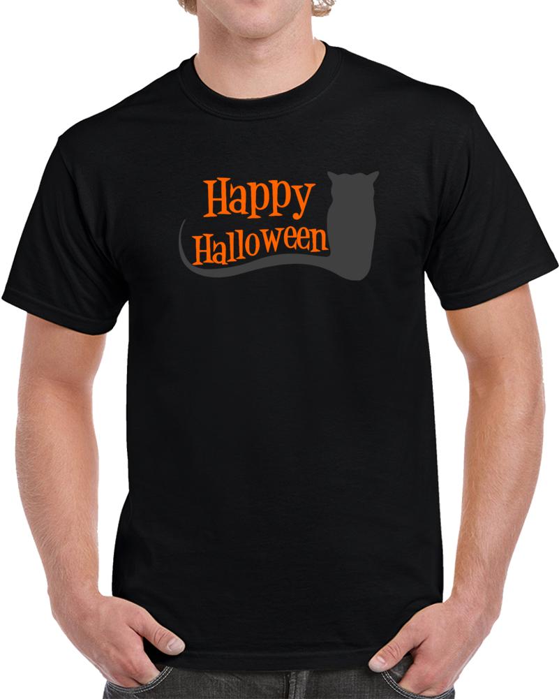 Happy Halloween Cat   T Shirt