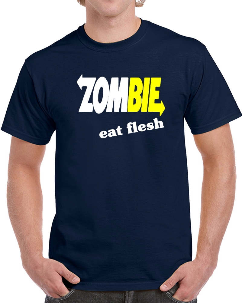 Zombie Eat Flesh Subway Logo   T Shirt
