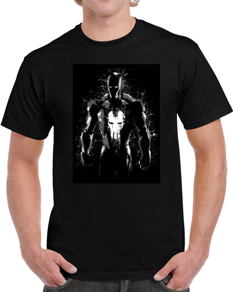 Iron Man Punisher Splatter  T Shirt
