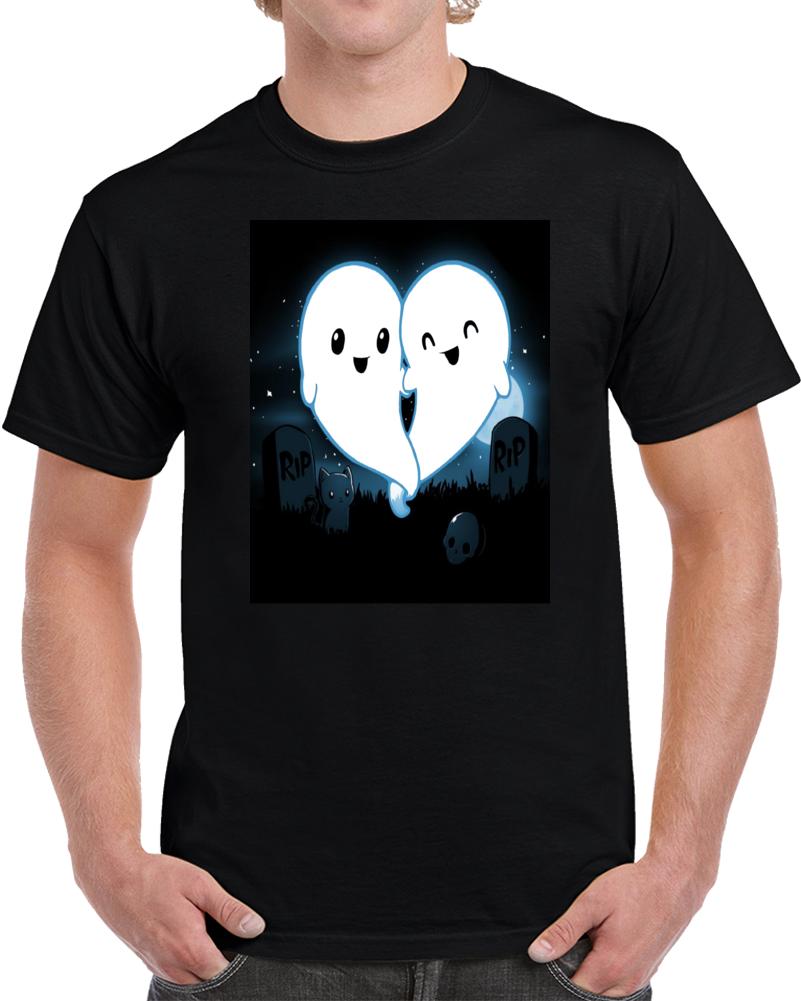 Ghost In The Dark Cemetery Graveyard   T Shirt