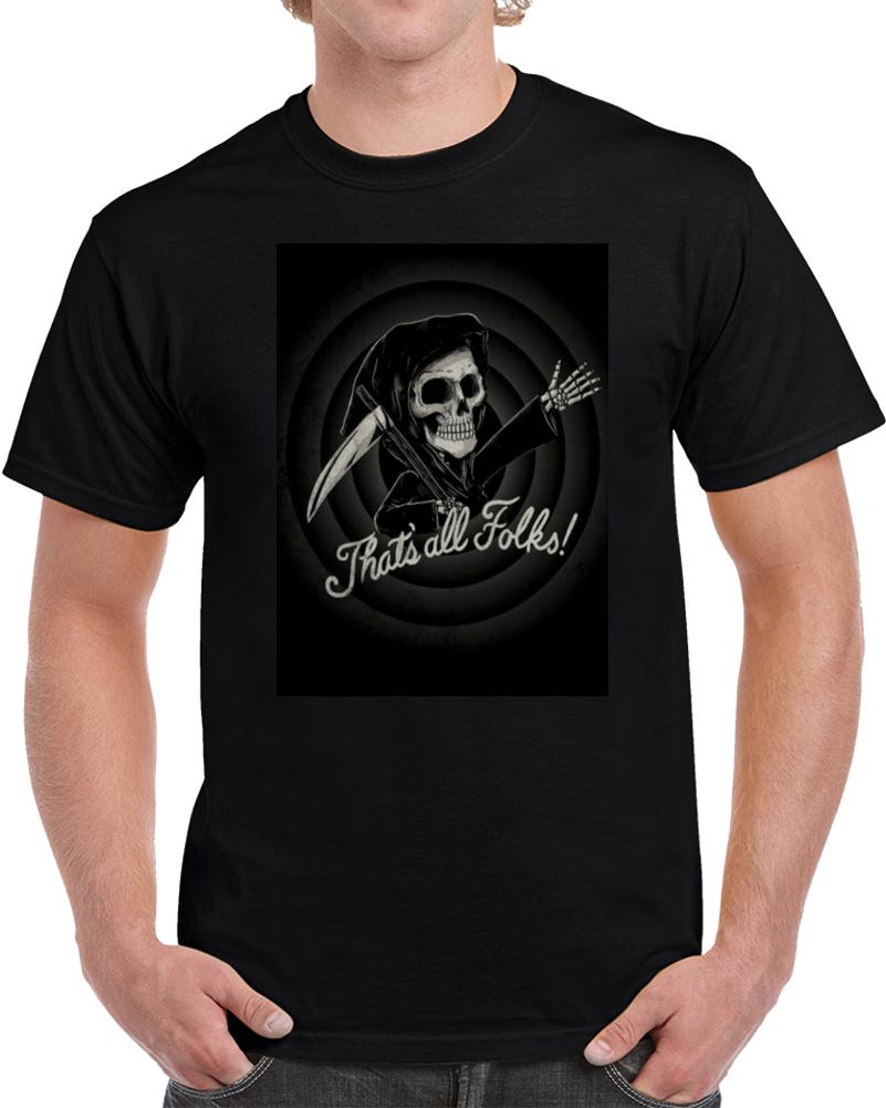 Thats All Folks Skull Halloween   T Shirt