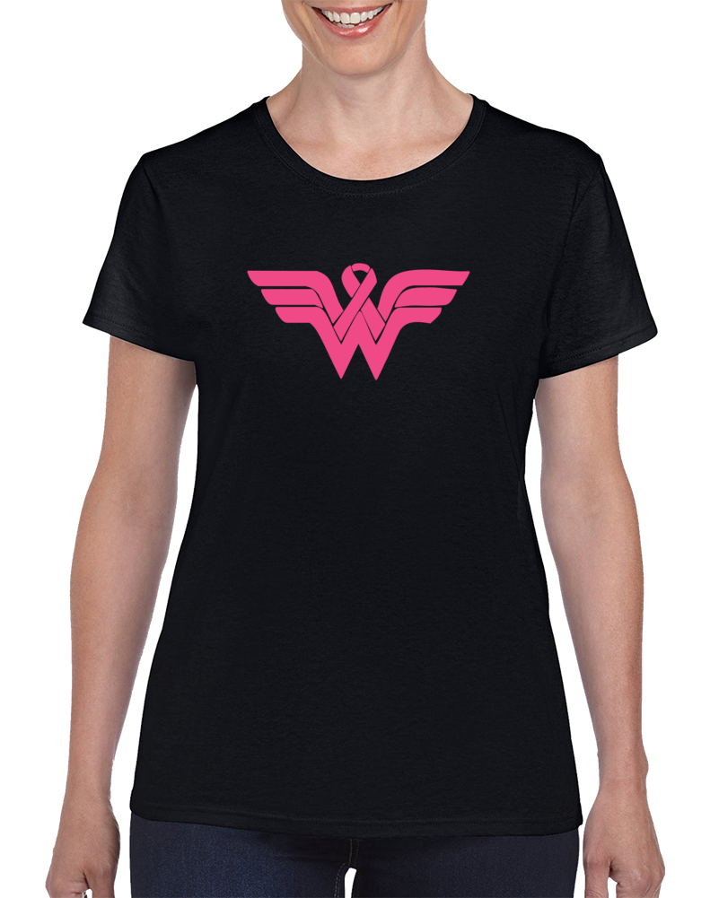 Wonder Woman Logo Pink Breast Cancer Cure For The Fight  T Shirt