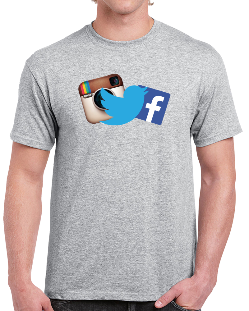 Instagram Twitter Facebook Logo Together   T Shirt