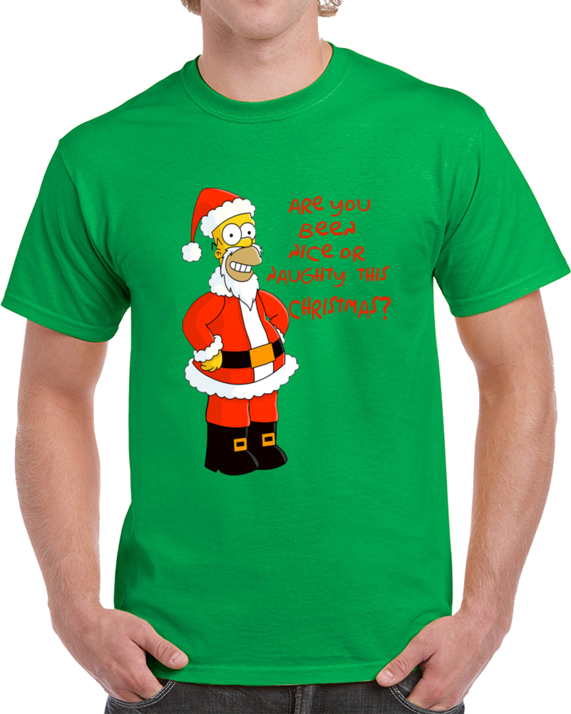 Homer Simpsons Are You Been Nice Or Naughty This  Christmas   T Shirt