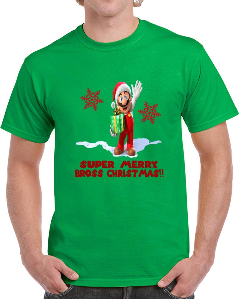 Super Mario Bross Merry Christmas   T Shirt