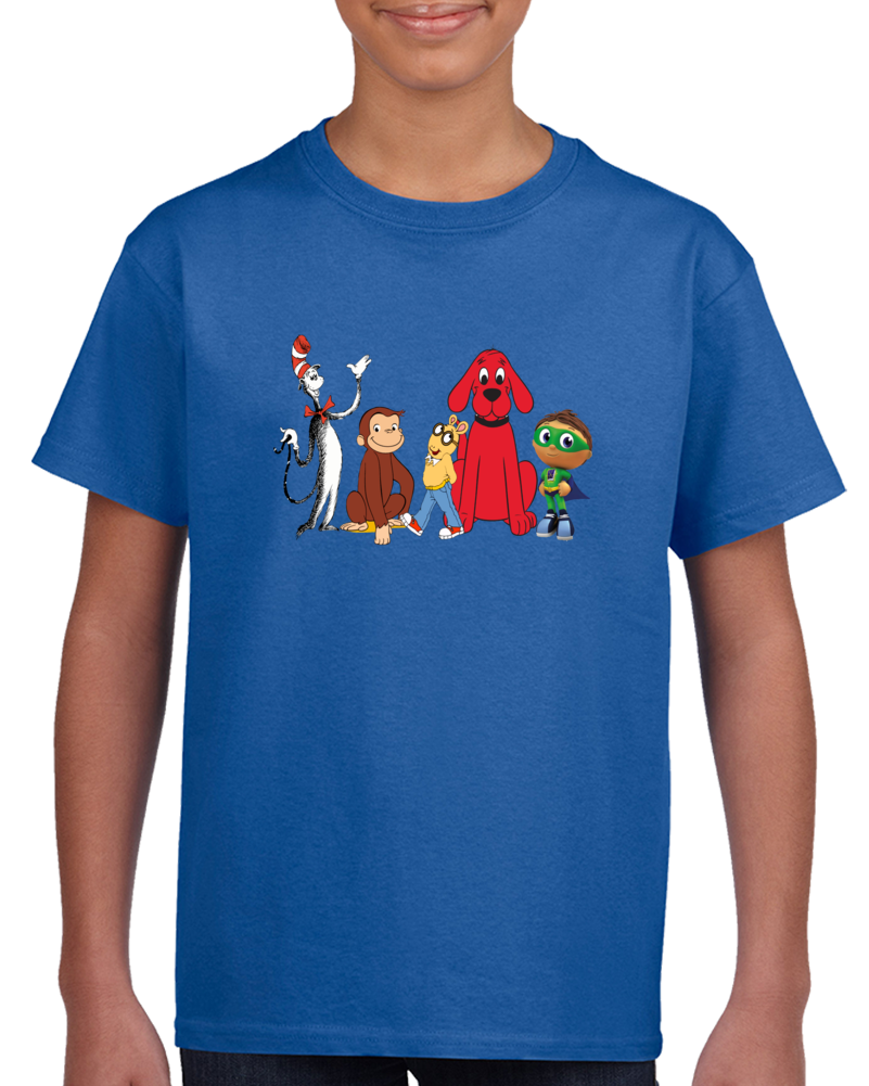 Kids Fest Characters Cat In The Hat Curious George Arthur Clifford And Super Why T Shirt