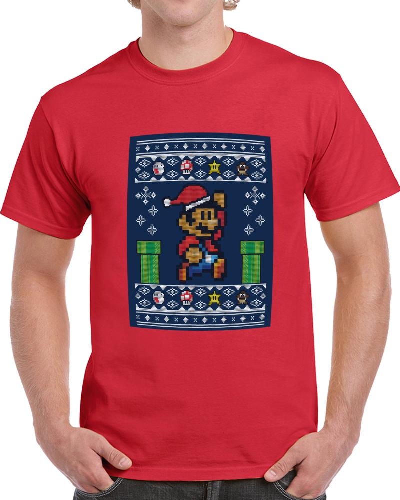 Christmas Super Mario Pixel Knit  T Shirt