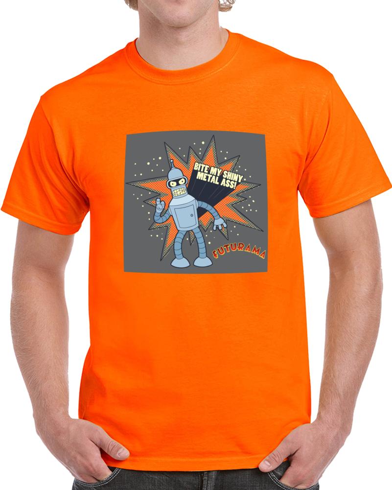 Futurama Bender Bite My Shiny Metal Ass  T Shirt