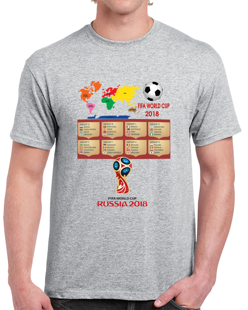 Rusia Fifa World Cup Football Soccer Groups   T Shirt