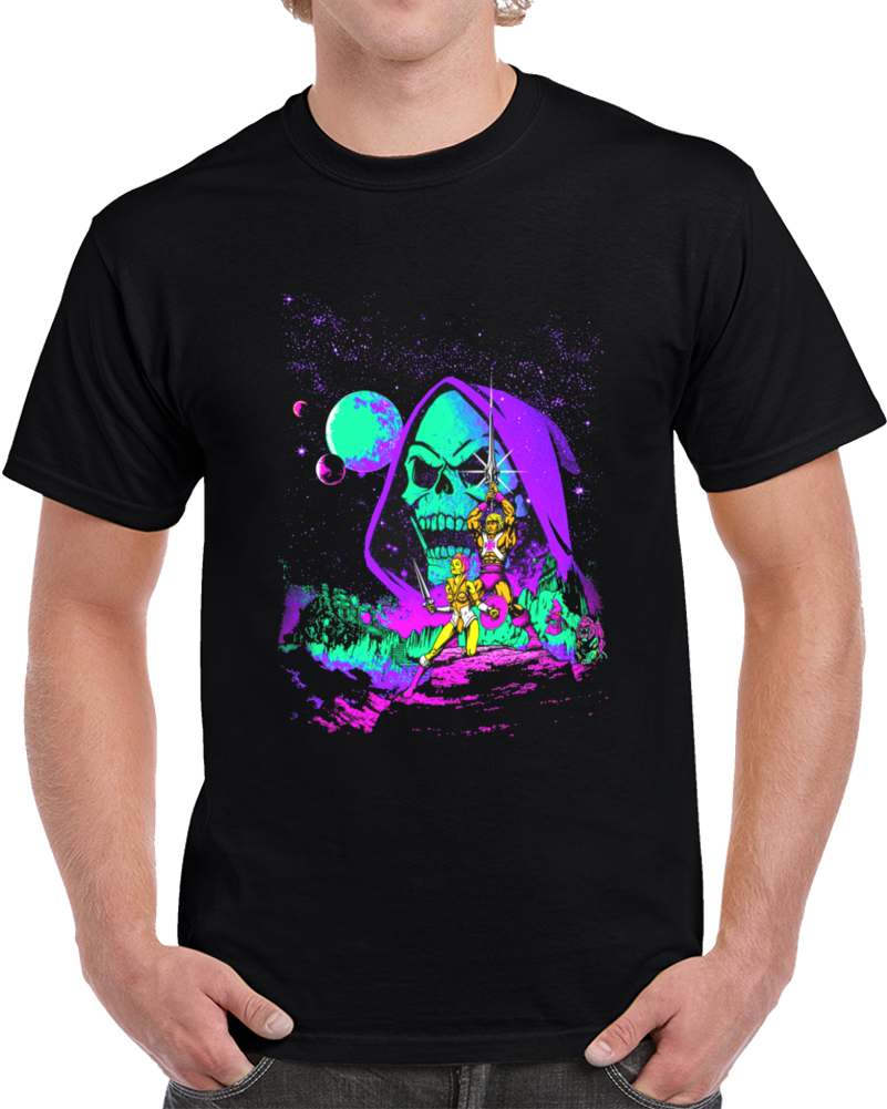 Skeletor Night And He Man  T Shirt