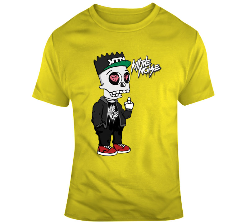 Bart Simpson Skull Kill The Noise  T Shirt