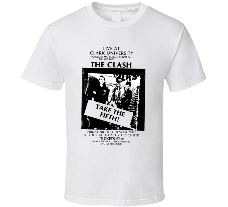 The Clash Rare Concert Poster Clark U T Shirt