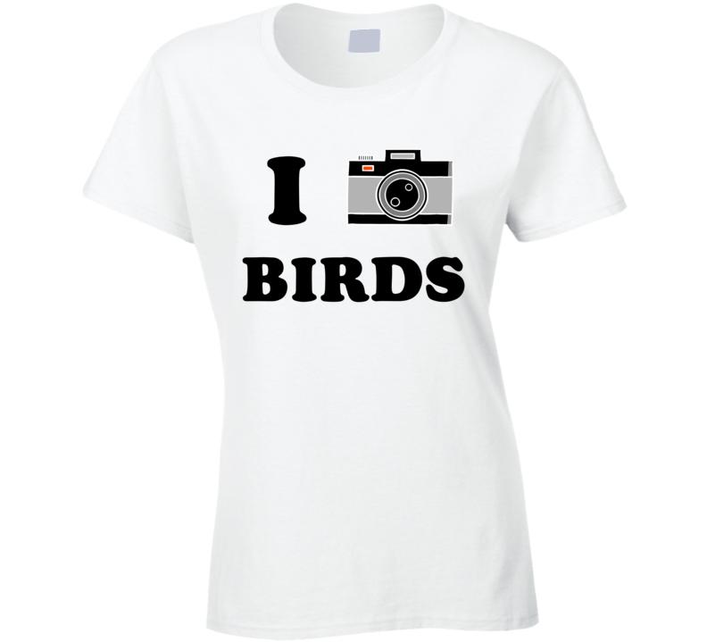 I Heart Birds Birding Photography Camera Birder T Shirt