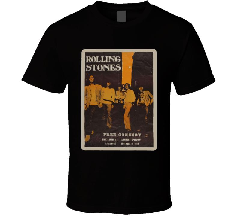 -Altamont California Free Concert Rock N Roll 1969 Retro Poster T Shirt
