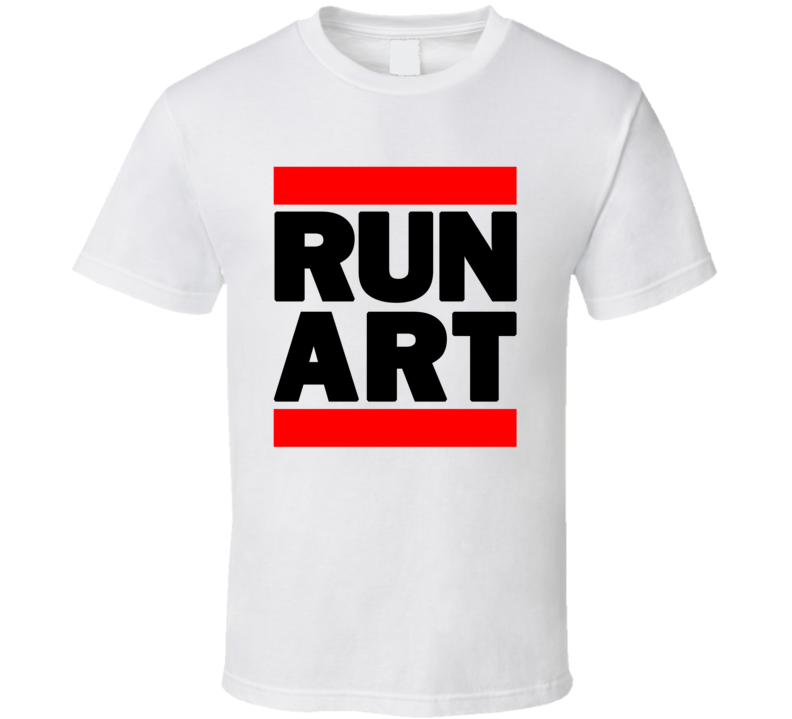 RUN ART RETRO RAP HIP HOP WHITE T SHIRT