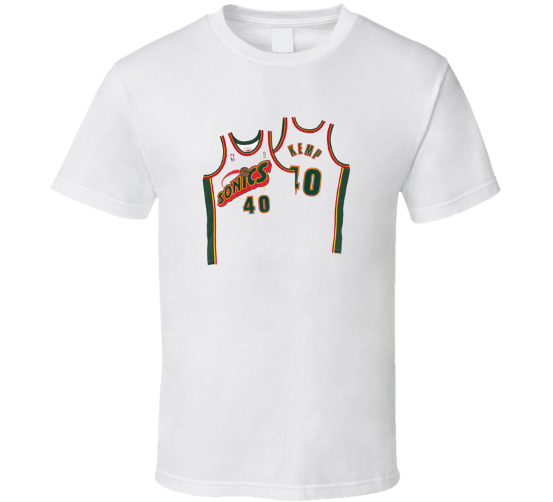 Shawn Kemp Retro front and back Jersey T Shirt
