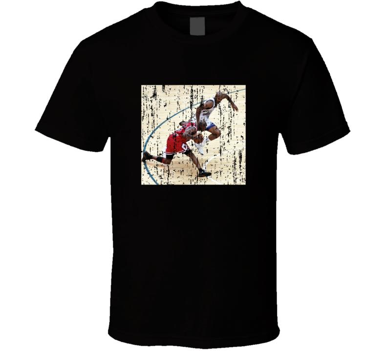 Michael Jordan Crosses Bryon Russel Game Winner 1998 Distressed T Shirt