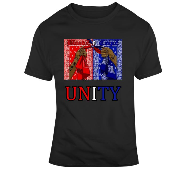 Crip And Blood Gang Flag Unity Bandana Tied Together T-shirt T Shirt