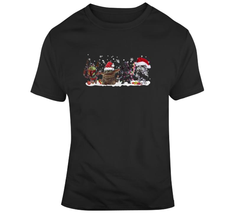 Boba Fett Baby Yoda Fan Darth Vader Stormtrooper Christmas Fan T Shirt