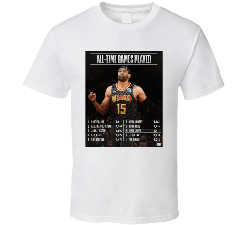 Thank You Vince Carter Games Played Stats T Shirt