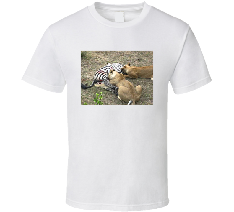 Lion Pride Eating Zebra T Shirt