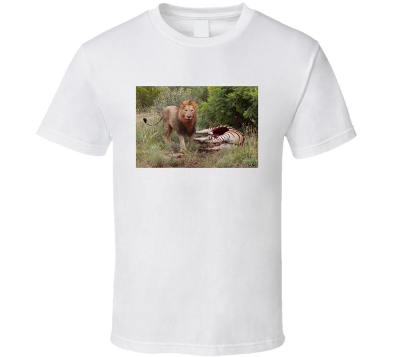 Lion Eating Zebra Art T Shirt