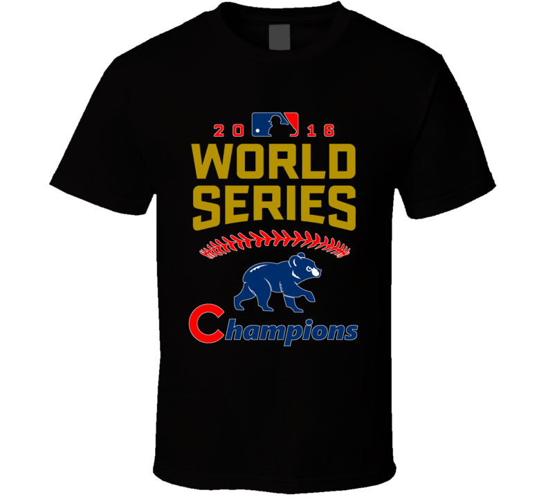 Chicago World Series Champions 2016 Baseball Cubs Fan Black T Shirt