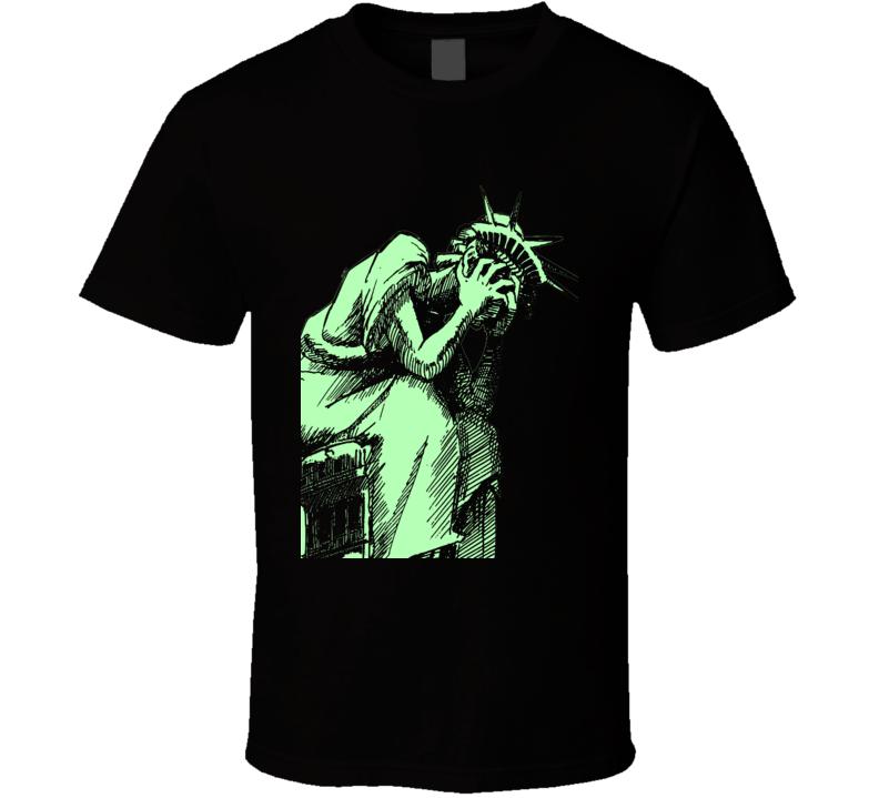Crying Statue of Liberty Anti Donald Trump POTUS fun Black T Shirt