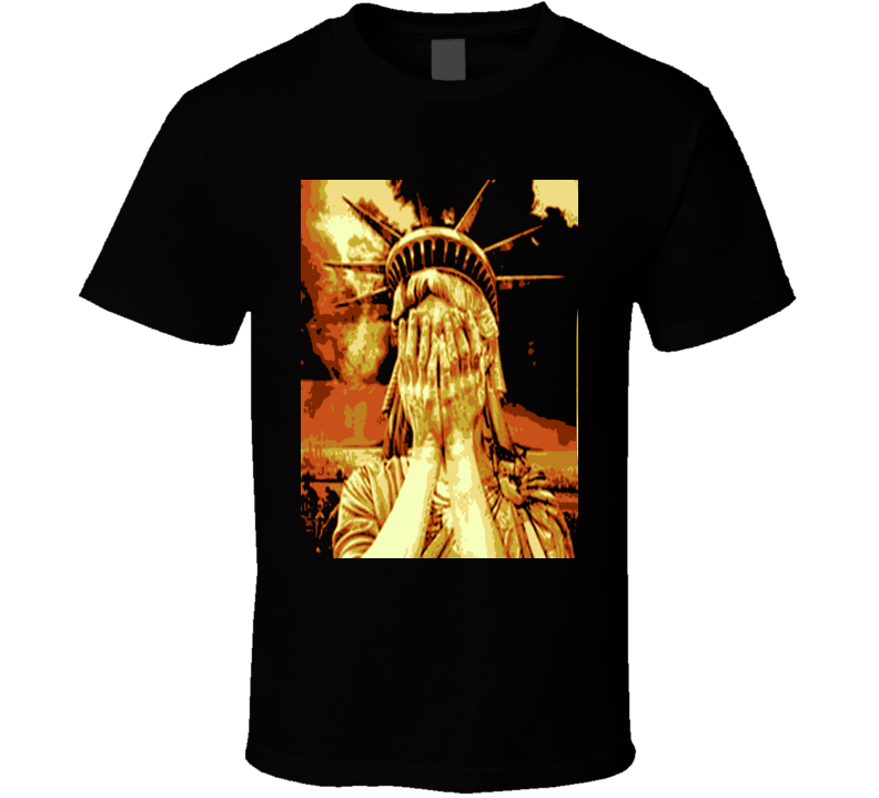 Ashamed Statue of Liberty Anti Donald Trump POTUS fun Black T Shirt