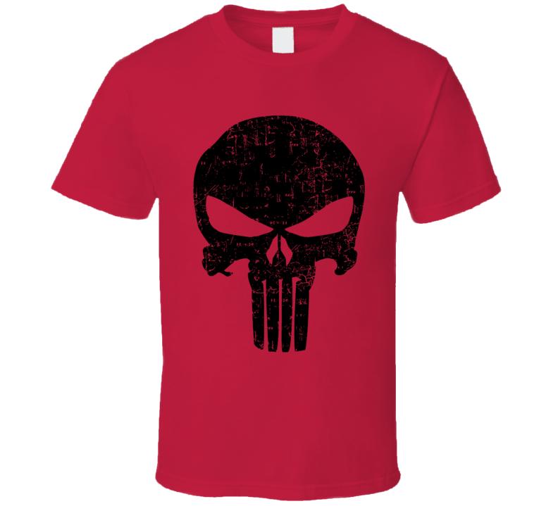 Punisher Netflix Marvel Comic Logo Distressed Red T Shirt