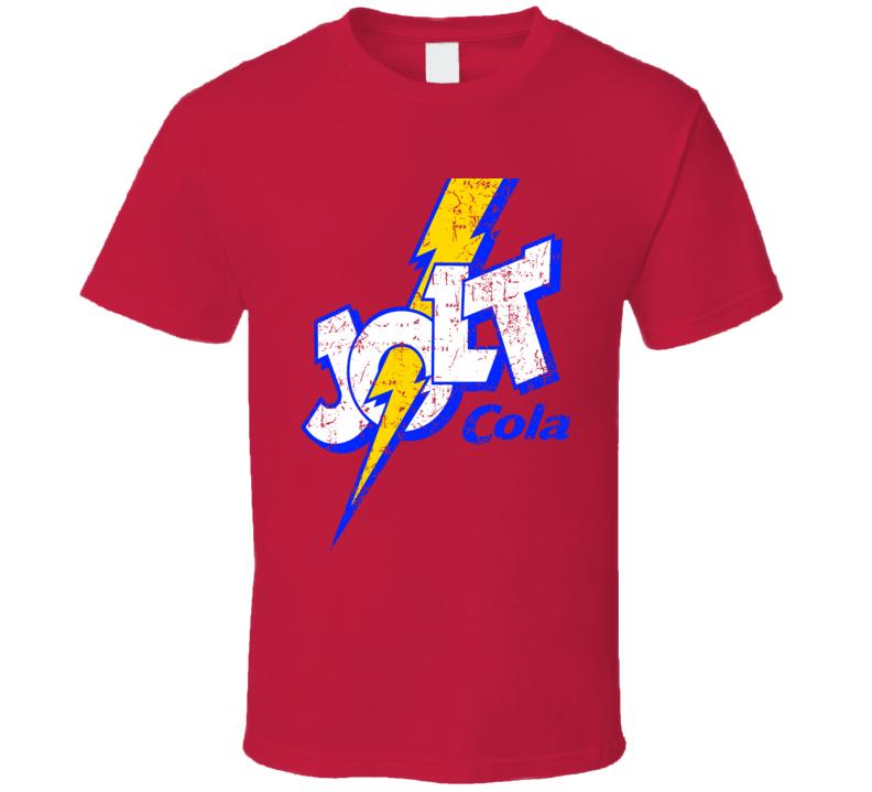 JOLT COLA Classic Retro Logo Cola Soda Pop Distressed Red T Shirt