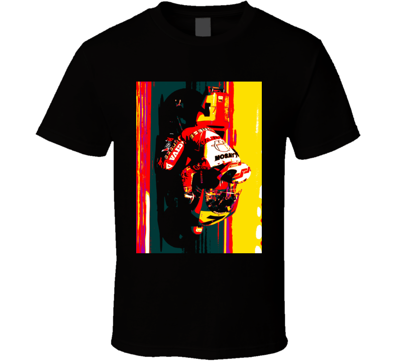 Eddie Lawson Cagiva MotoGp Classic Retro Black T Shirt