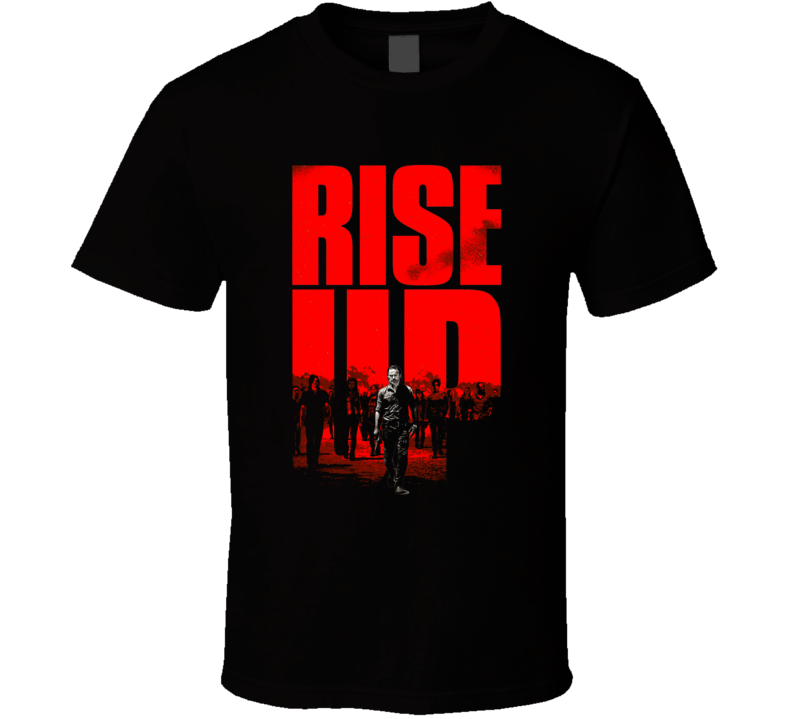 The Walking Dead RISE UP Rick vs Negan Fun Fan Black T Shirt