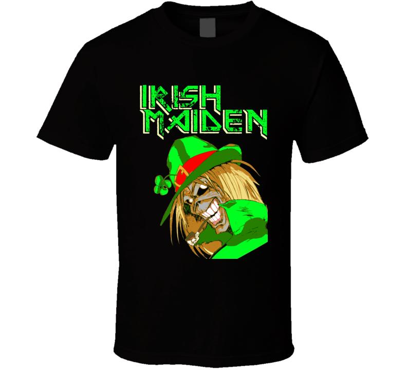 St Paddy's Day Irish Maiden Custom Art Heavy Metal Black T Shirt