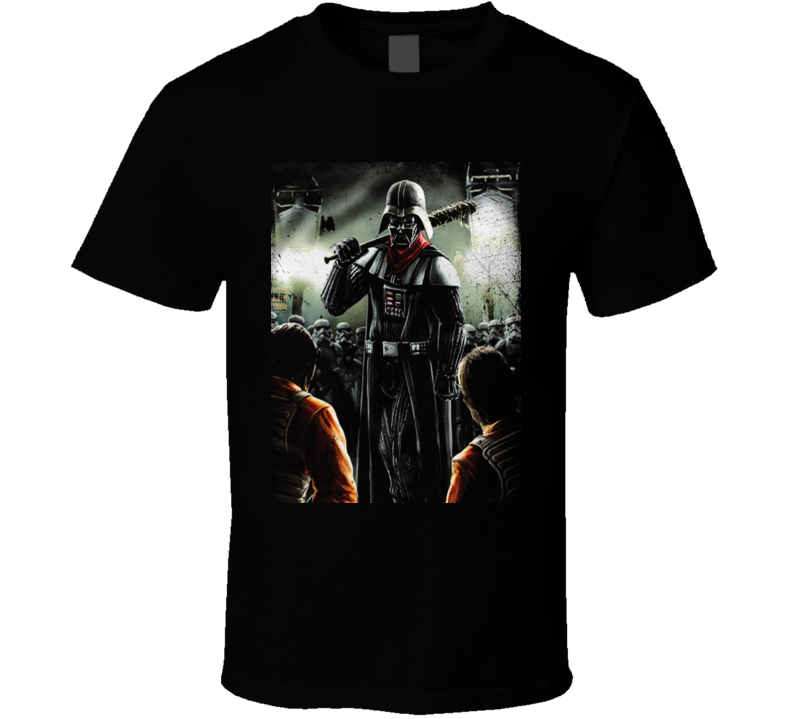 The Walking Dead Darth Vader Negan Parody Mash Up Cleaner Image Fun Fan Black T Shirt
