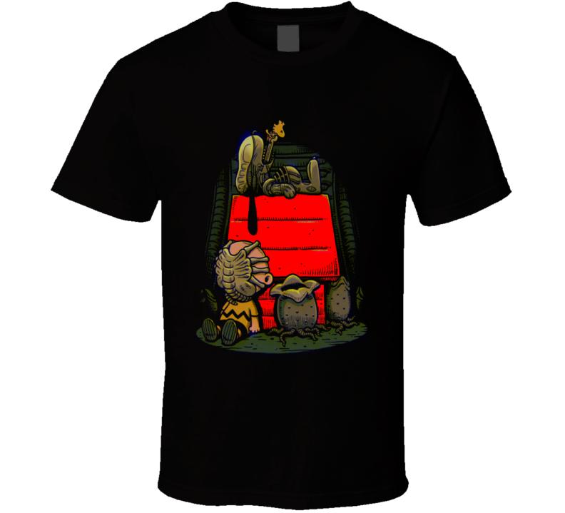 Aliens Charlie Brown Snoopy Mashup Parody Fun Fan Black T Shirt