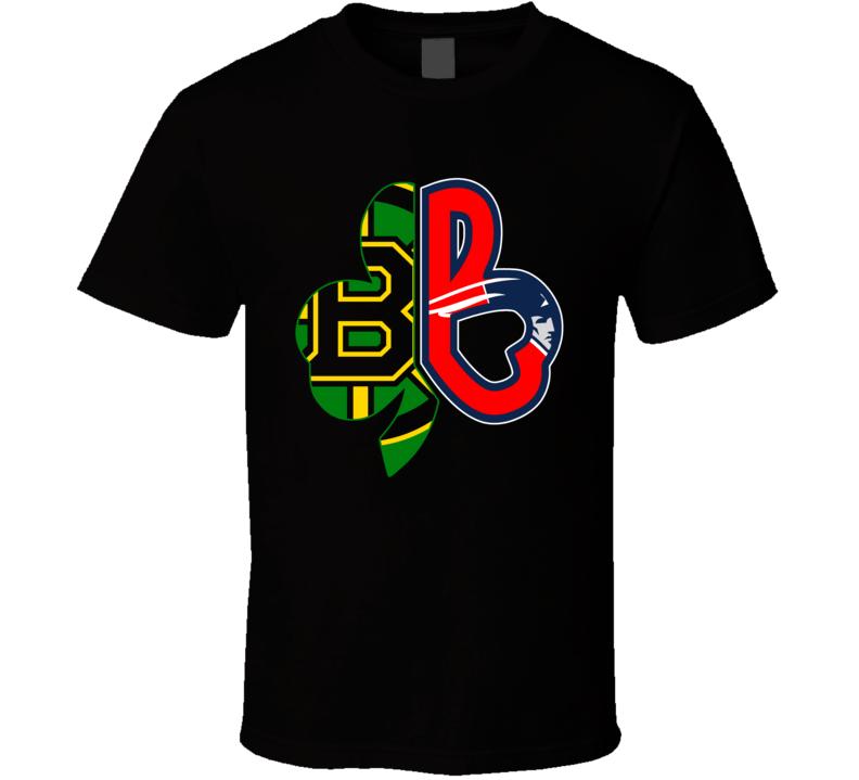 Boston Sport Teams Mash Up Red Sox Patriots Celtics Bruins Fun Fan Black T Shirt