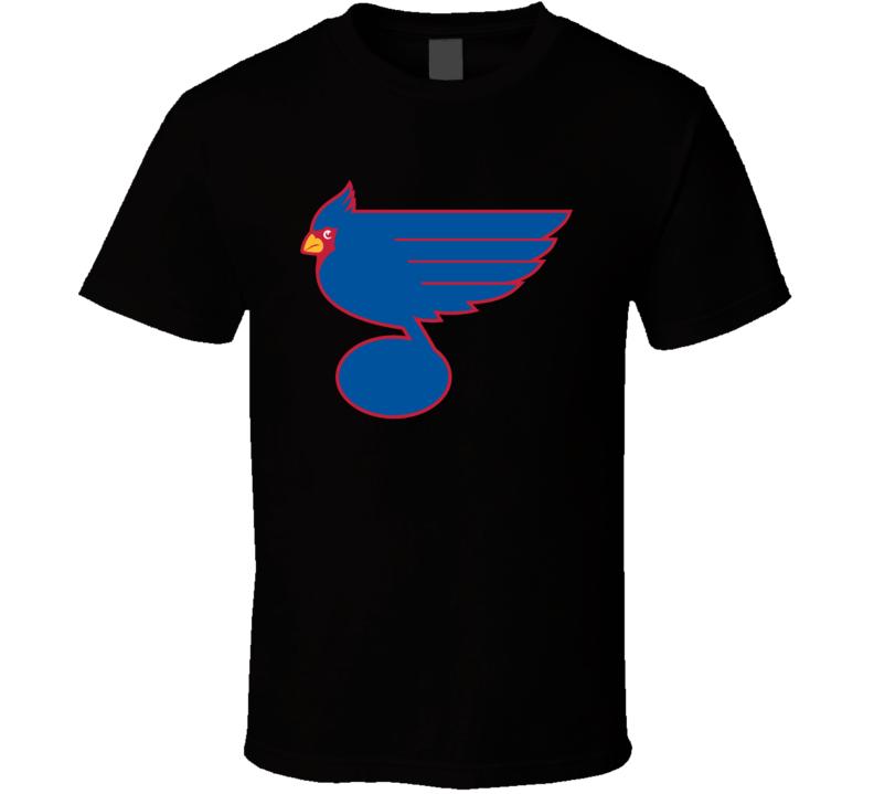 St Louis Sport Teams Mash Up Hockey Baseball Re Color Fun Fan T Shirt