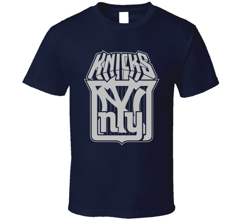 New York Sport Teams Mashup Baseball Football Hockey Basketball Fun Fan Navy T Shirt