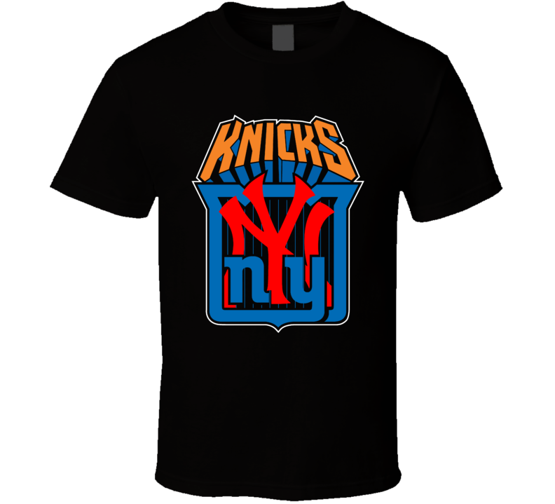 New York Sport Teams Mashup Baseball Football Hockey Basketball Fun Fan Black T Shirt