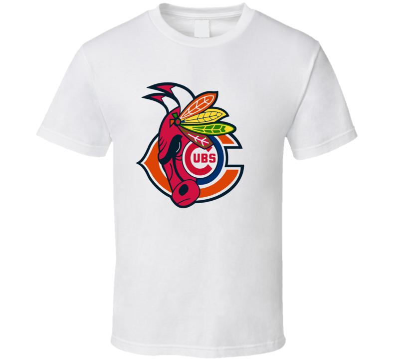 Chicago Sport Teams Mashup Football Basketball Hockey Baseball Fun Fan White T Shirt
