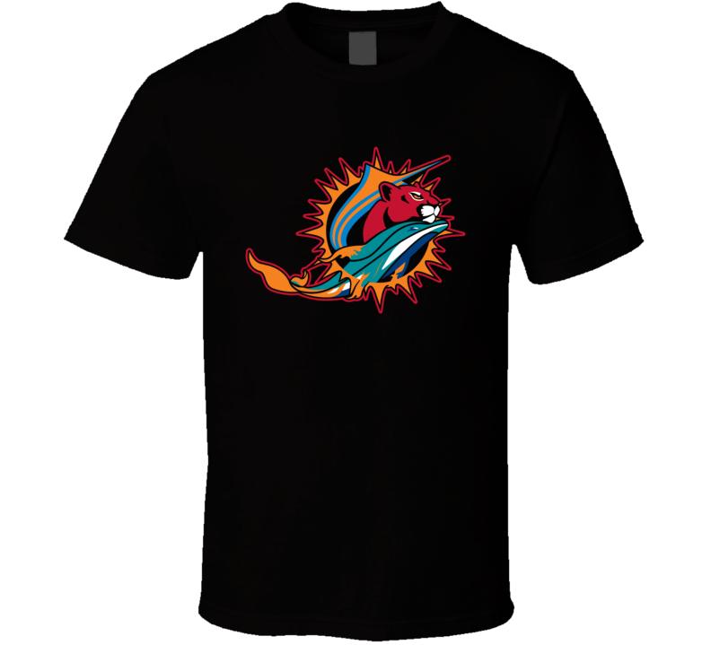 Miami Florida Sport Teams Mashup Dolphins Heat Marlins Panthers Football Basketball Baseball Hockey Fan Fun Black T Shirt