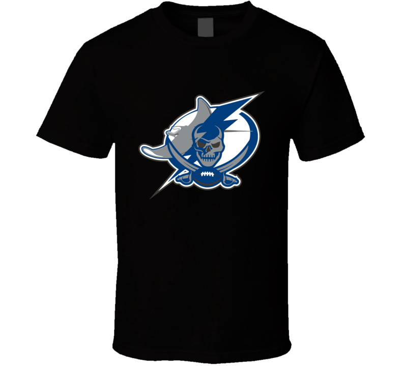 Tampa Bay Sport Teams Mashup Rays Buccaneers Lightning Baseball Football Hockey Fan T Shirt