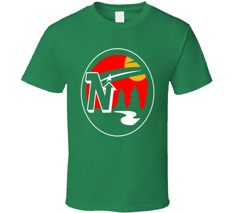 Minnesota Hockey Teams Retro North Stars Wild Mashup Logo Fun Fan Green T Shirt