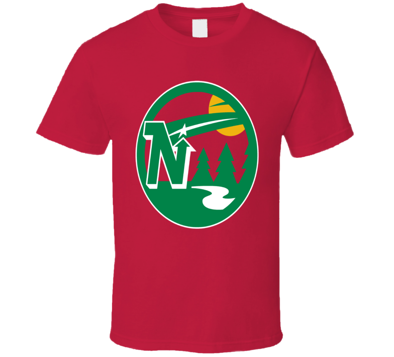 Minnesota Hockey Teams Retro North Stars Wild Mashup Logo Fun Fan Red T Shirt
