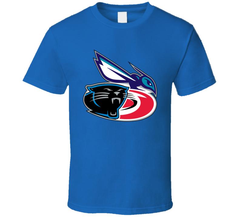 Carolina Sport Teams Mashup Charlotte Hornets Hurricanes Panthers Football Basketball Hockey Fun Re Color Fan T Shirt