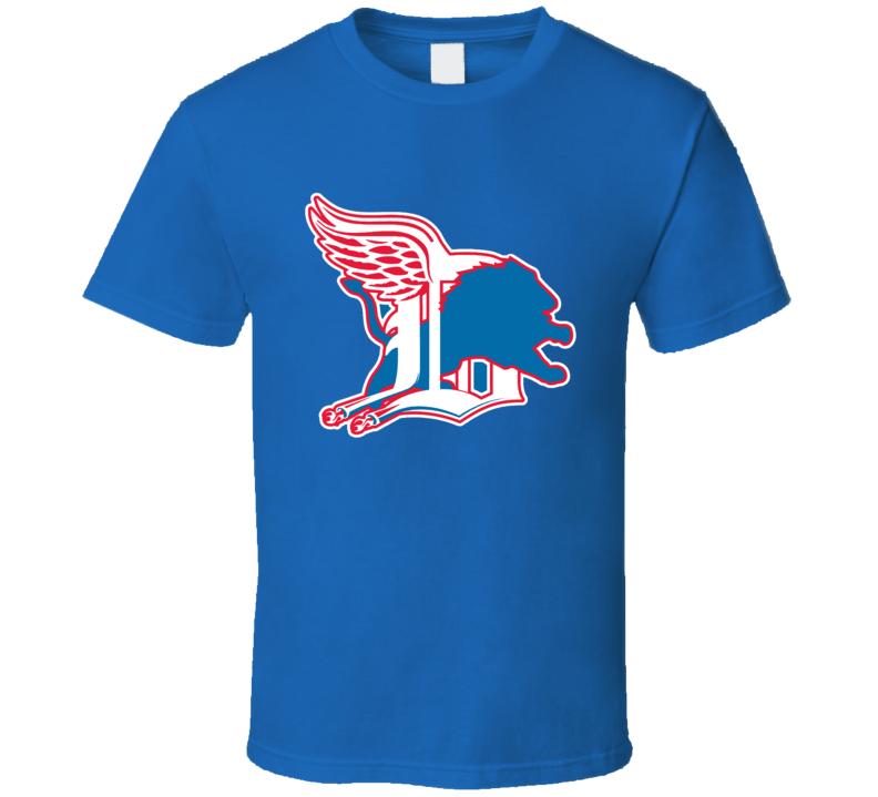 Detroit Sport Teams Mashup Football Baseball Hockey Basketball Re Color Fun Fan T Shirt